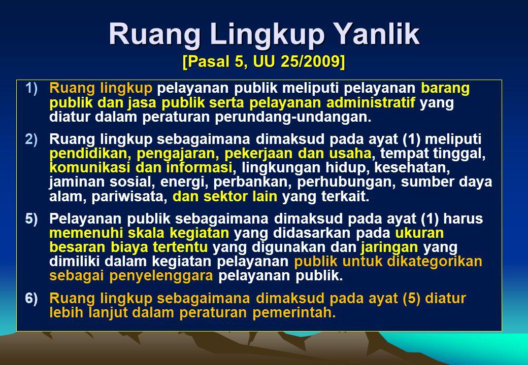 Ruang Lingkup Yanlik [Pasal 5, UU 25/2009]